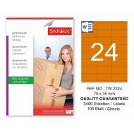 Tanex TW-2324 70x35mm Turuncu Pastel Laser Etiket 100 Lü