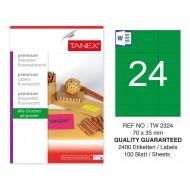 Tanex TW-2324 70x35mm Yeşil Floresan Laser Etiket 100 Lü