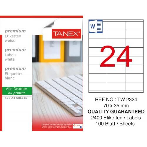 Tanex TW-2324 Yazıcı Etiketi 70x35 mm 2400 Adet