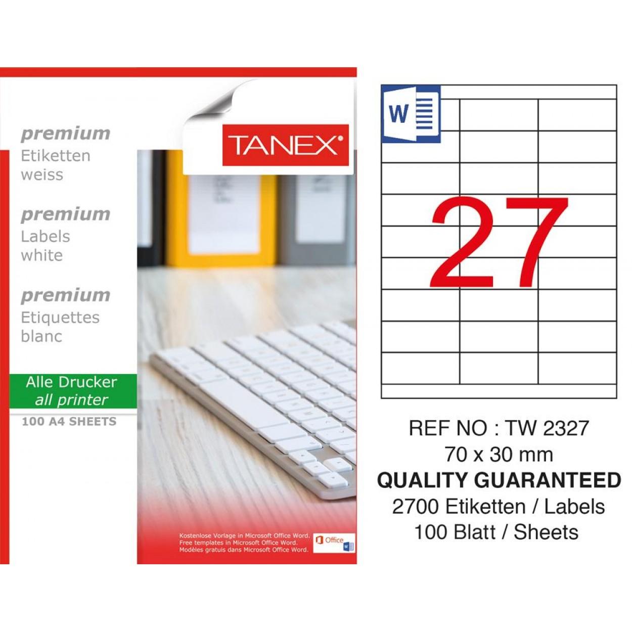 Tanex TW-2327 70 mm x 30 mm 100 Sayfa Etiket