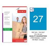 Tanex TW-2327 70x30mm Mavi Pastel Laser Etiket 100 Lü
