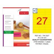 Tanex TW-2327 70x30mm Sarı Floresan Laser Etiket 100 Lü