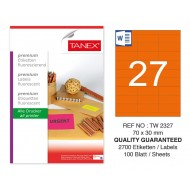 Tanex TW-2327 70x30mm Turuncu Floresan Laser Etiket 100 Lü