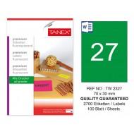 Tanex TW-2327 70x30mm Yeşil Floresan Laser Etiket 100 Lü