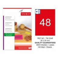 Tanex TW-2348 35x35mm Kırmızı Floresan Laser Etiket 100 Lü