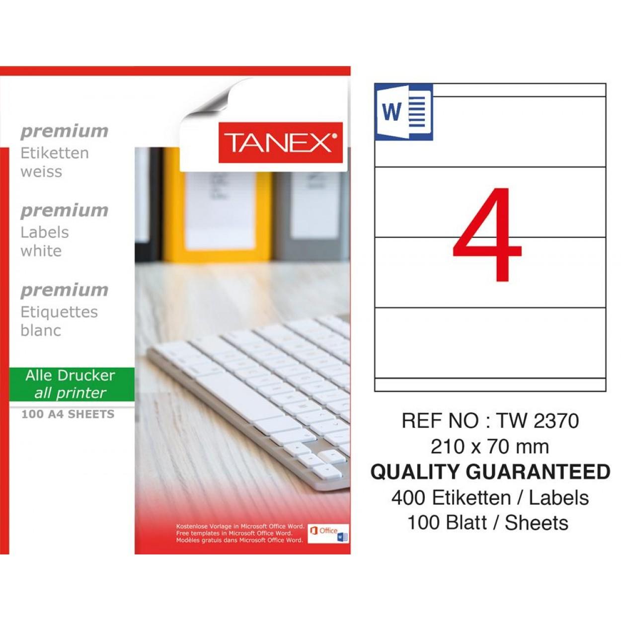 Tanex TW-2370 Laser Etiket 100 Lü Paket