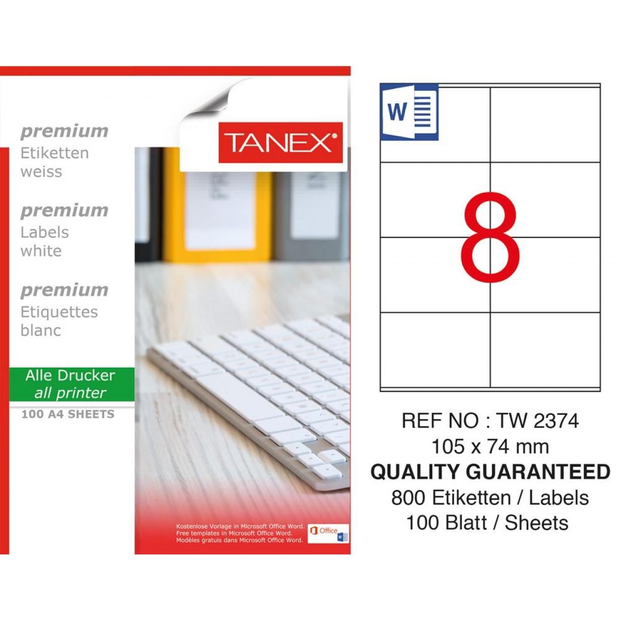 Tanex TW-2374 105 mm X 74 mm Etiket