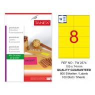 Tanex TW-2374 105x74,25mm Sarı Floresan Laser Etiket 100 Lü