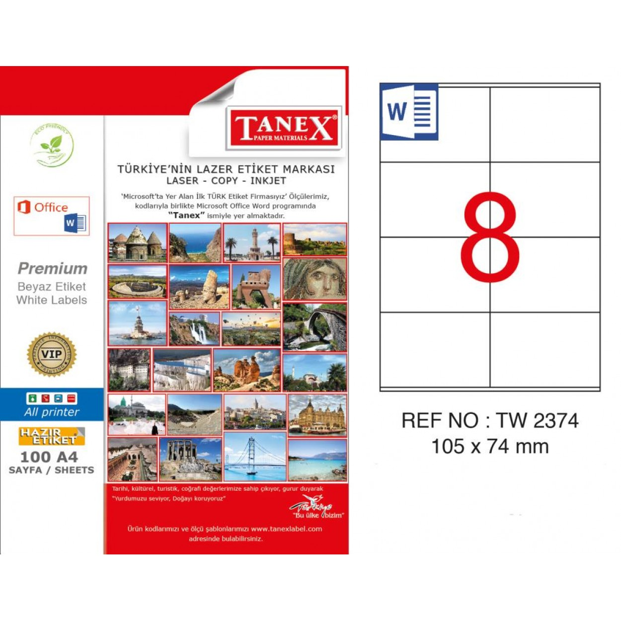 Tanex TW-2374 105x74mm Kuşe Lazer Etiket 100 Lü Paket