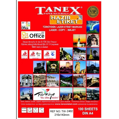 Tanex TW- 2402 Laser Etiket 100 Lü Paket