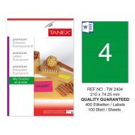 Tanex TW-2404 210x74,25mm Yeşil Floresan Laser Etiket 100 Lü