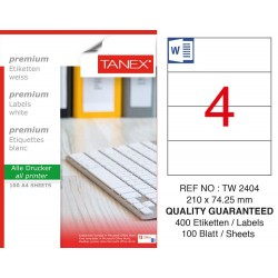 Tanex TW-2404 Laser Etiket 100 Lü Paket