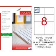 Tanex TW-2408 105 x 72mm Laser Etiket