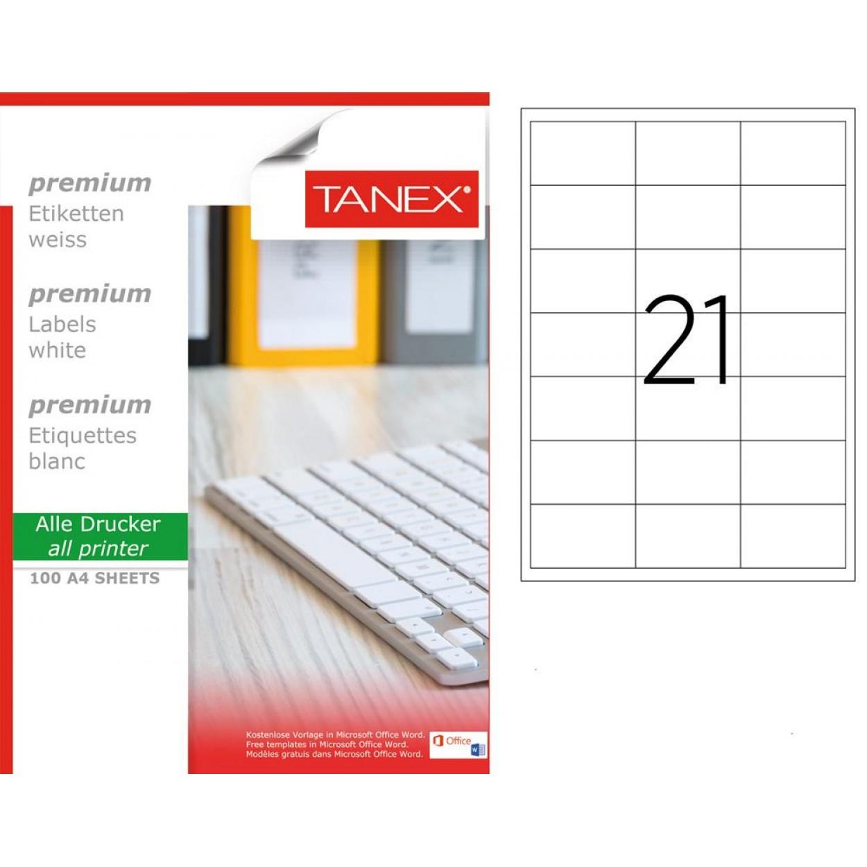 Tanex TW-2421 66.5x41mm Lazer Etiket 100 Lü