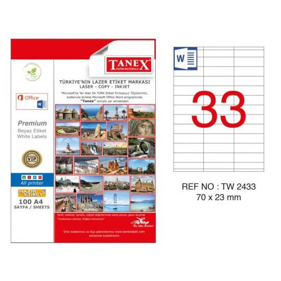 Tanex TW-2433 70x23mm Kuşe Lazer Etiket 100 Lü Paket