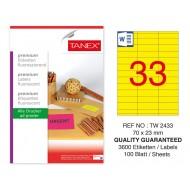Tanex TW-2433 70x23mm Sarı Floresan Laser Etiket 100 Lü