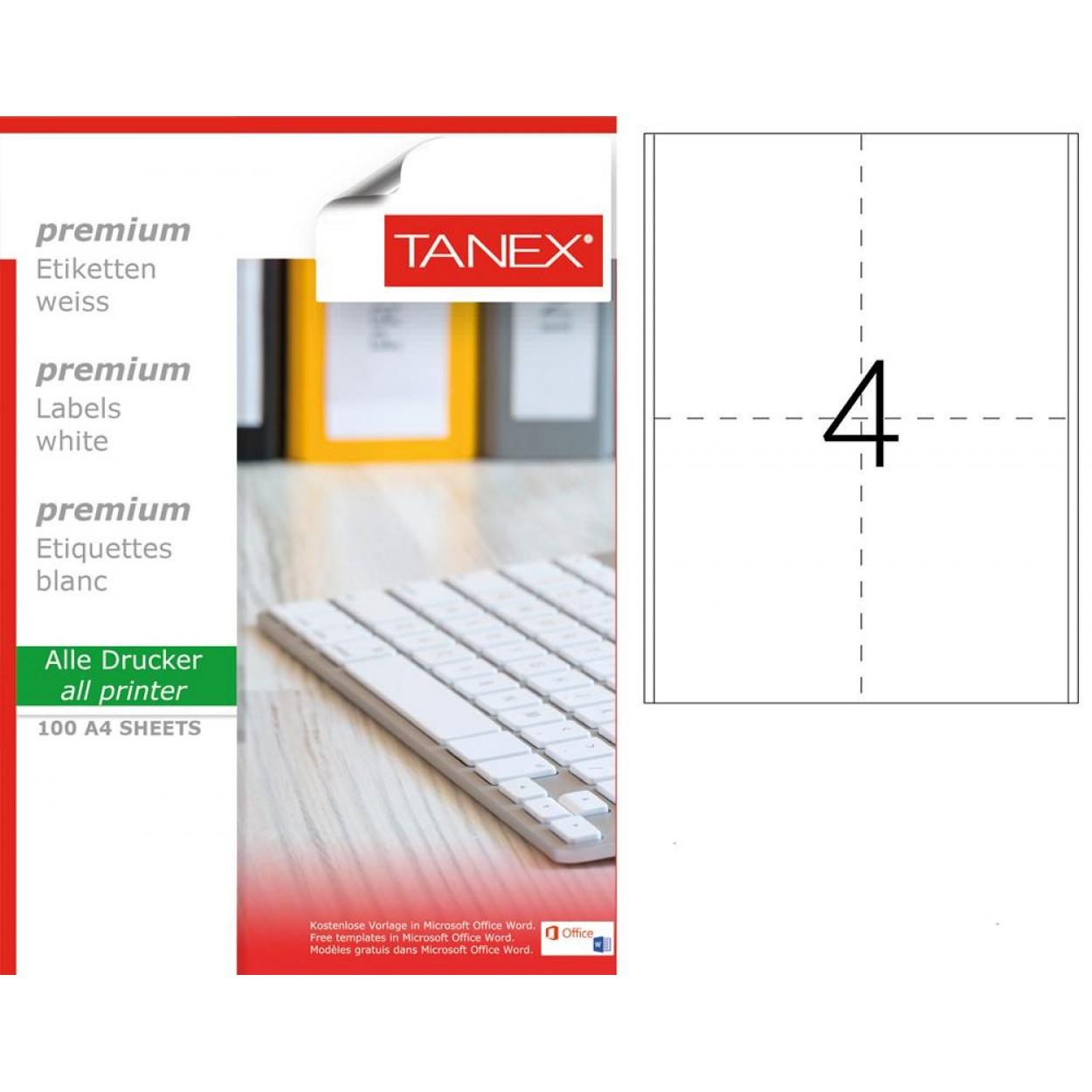 Tanex TW-2504 98x148.5mm Lazer Etiket 100 Lü
