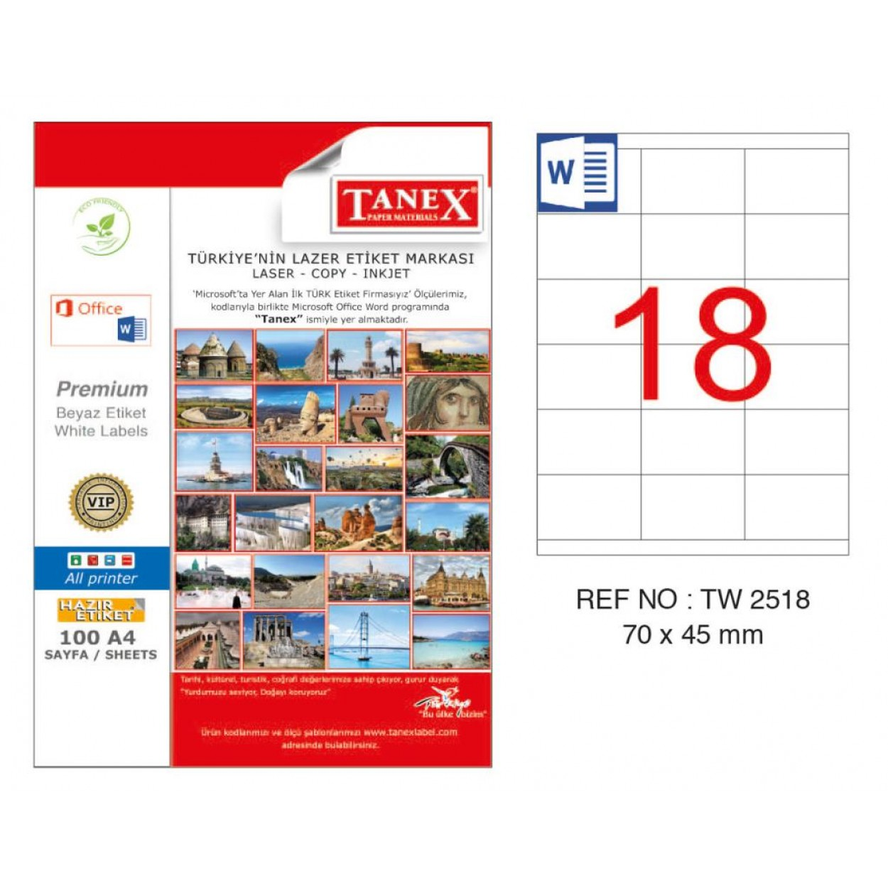 Tanex TW-2518 70x45mm Kuşe Lazer Etiket 100 Lü Paket