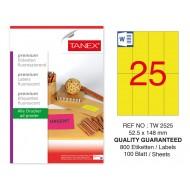 Tanex TW-2525 52,5x148,5mm Sarı Floresan Laser Etiket 100 Lü
