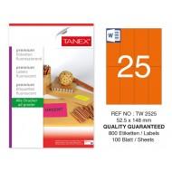 Tanex TW-2525 52,5x148,5mm Turuncu Floresan Laser Etiket 100 Lü