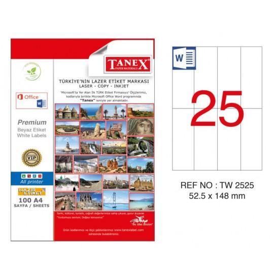 Tanex TW-2525 52.5x148mm Kuşe Lazer Etiket 100 Lü Paket
