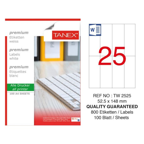 Tanex TW-2525 Laser Etiket 52.5 x 148 mm