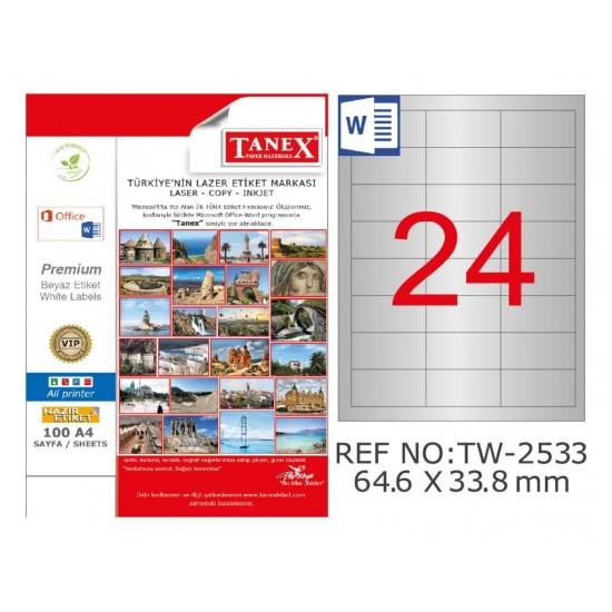 Tanex TW-2533 64.6x33.8mm Gümüş Lazer Etiket 600 Lu