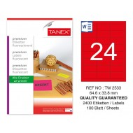 Tanex TW-2533 64,6x33,8mm Kırmızı Floresan Laser Etiket 100 Lü
