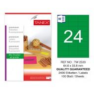 Tanex Tw-2533 64,6x33,8mm Yeşil Floresan Laser Etiket 100 Lü