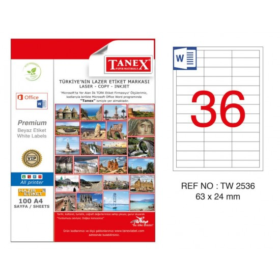 Tanex TW-2536 63x24mm Kuşe Lazer Etiket 100 Lü Paket