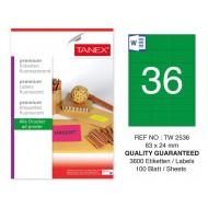 Tanex TW-2536 63x24mm Yeşil Floresan Laser Etiket 100 Lü