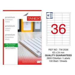 Tanex TW-2536 Laser Etiket 63 x 24 mm