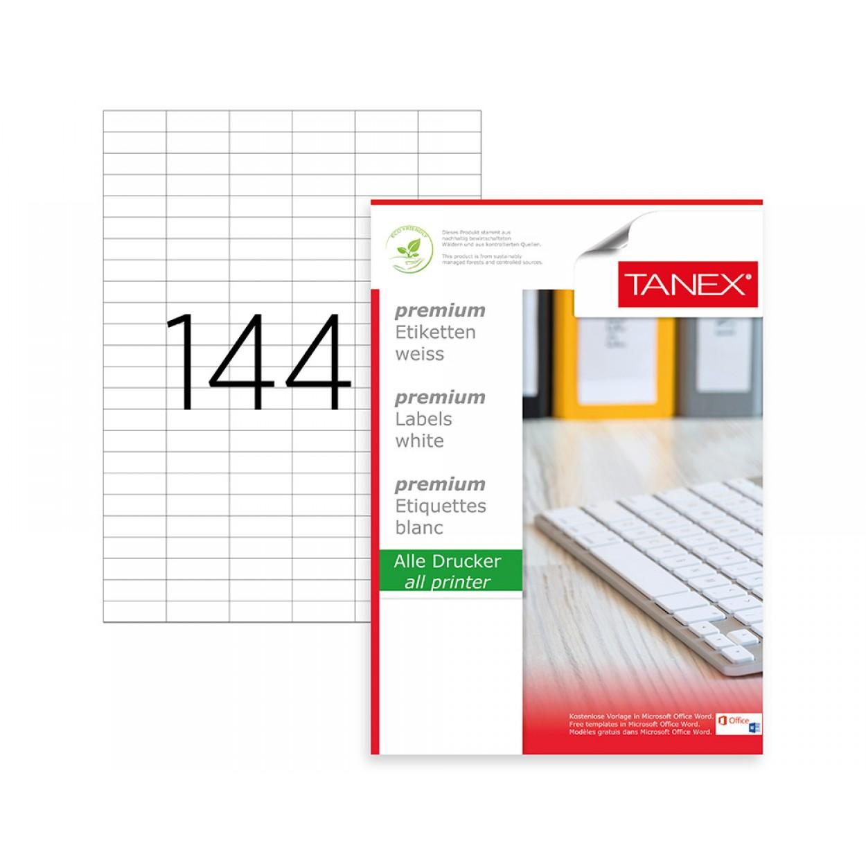 Tanex TW-2544 35x12.4355mm Kuşe Lazer Etiket 100 Lü Paket