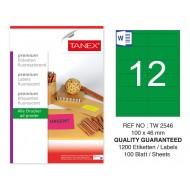 Tanex TW-2546 100x46mm Yeşil Floresan Laser Etiket 100 Lü