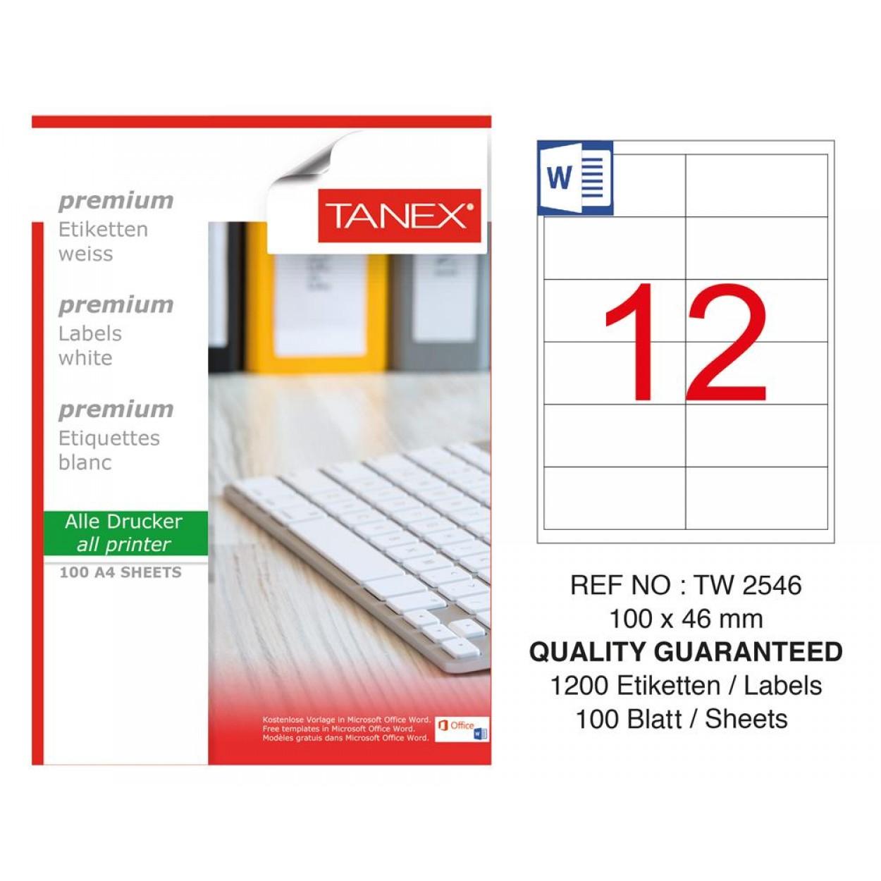 Tanex TW- 2546 Laser Etiket 100 Lü Paket