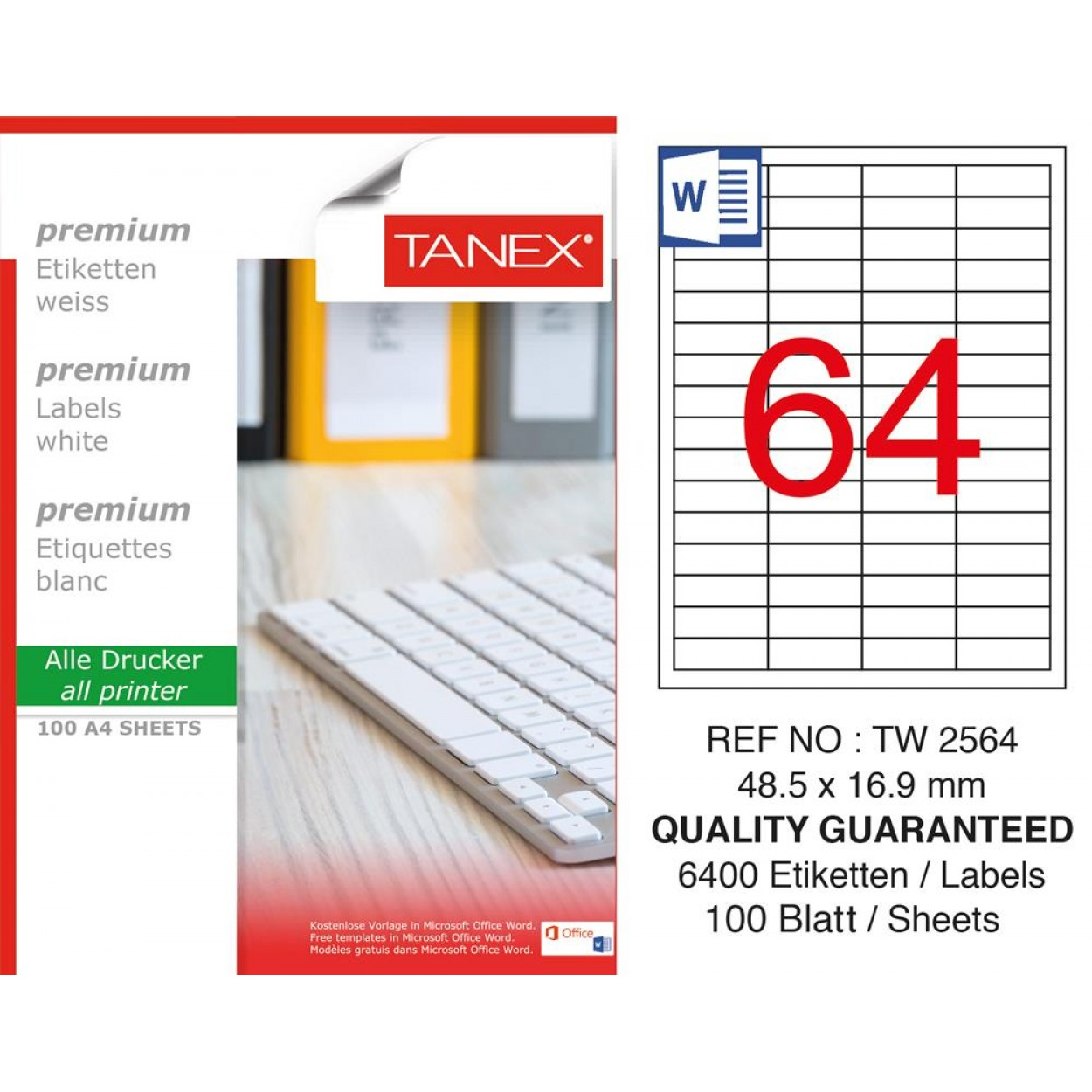 Tanex TW-2564 Laser Etiket 48,5 x 16,9 mm