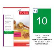 Tanex TW-2610 105x57mm Yeşil Floresan Laser Etiket 100 Lü
