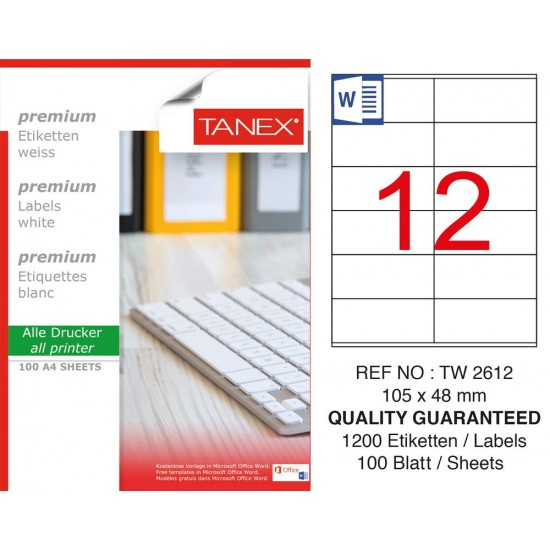Tanex TW- 2612 Laser Etiket 100 Lü Paket