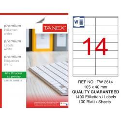Tanex TW-2614 105x40mm Laser Etiket 1400 Adet