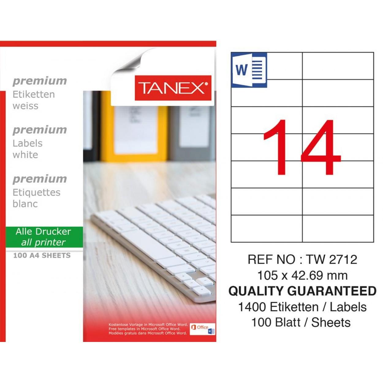 Tanex TW- 2712 Laser Etiket 100 Lü Paket