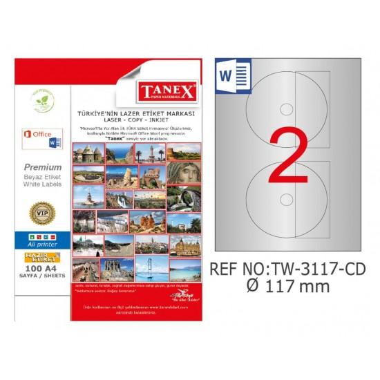 Tanex TW-3117 117mm Gümüş Lazer Etiket 50 Li