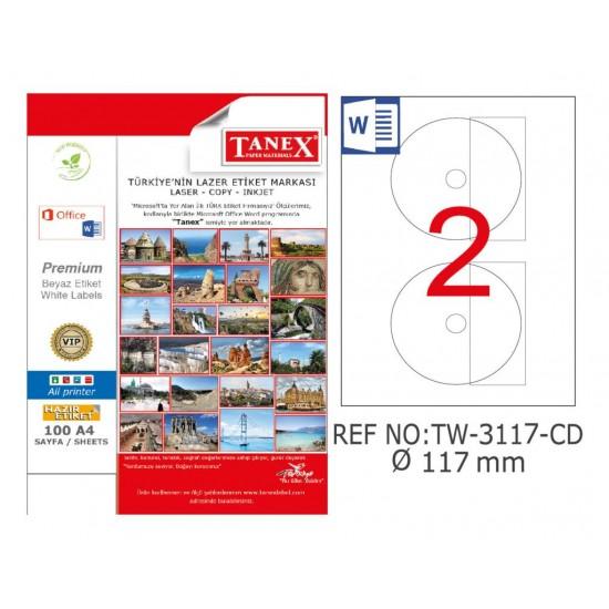 Tanex TW-3117 117mm Kuşe Laser Etiket 100 Lü Paket