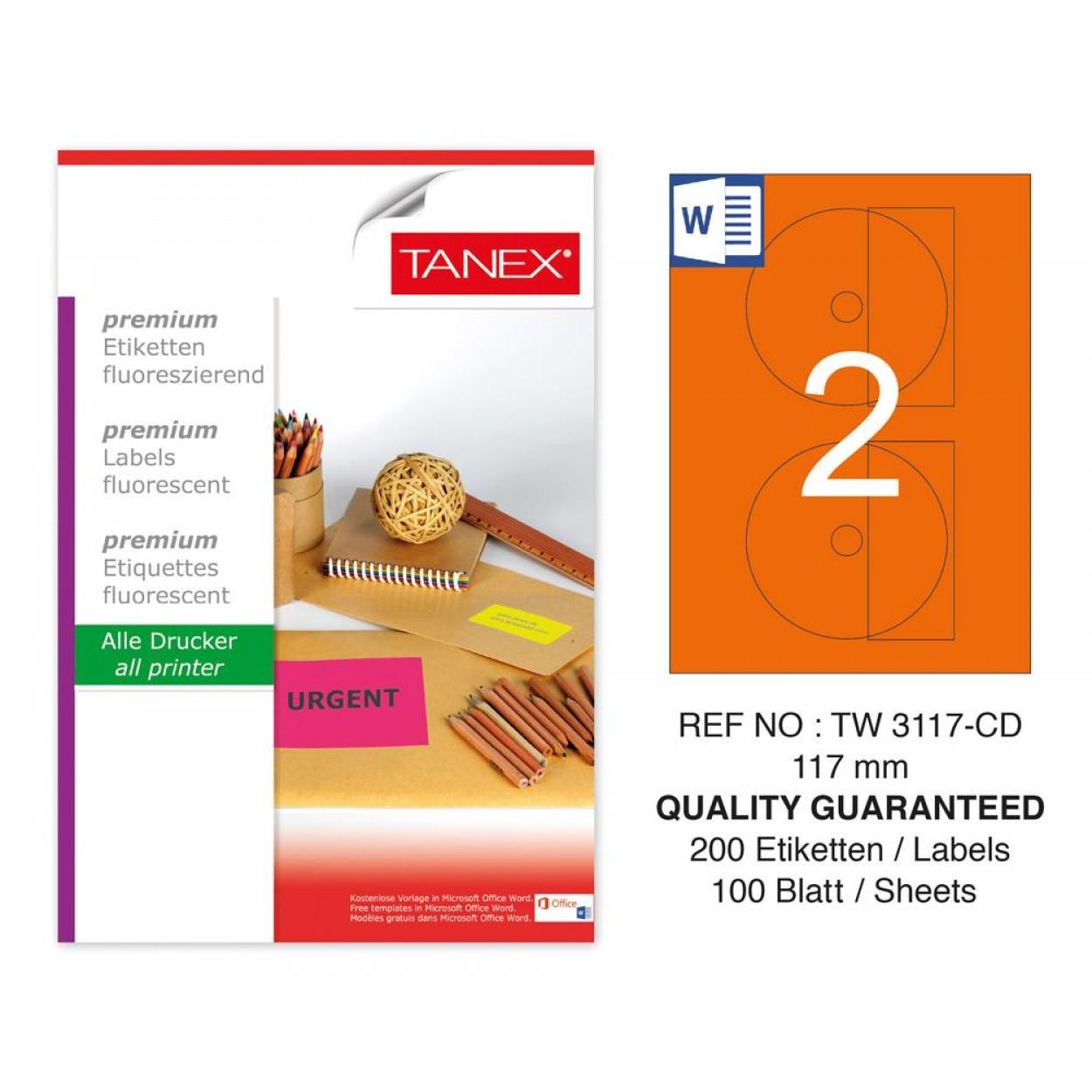 Tanex TW-3117 117mm Turuncu Floresan Laser Etiket 100 Lü