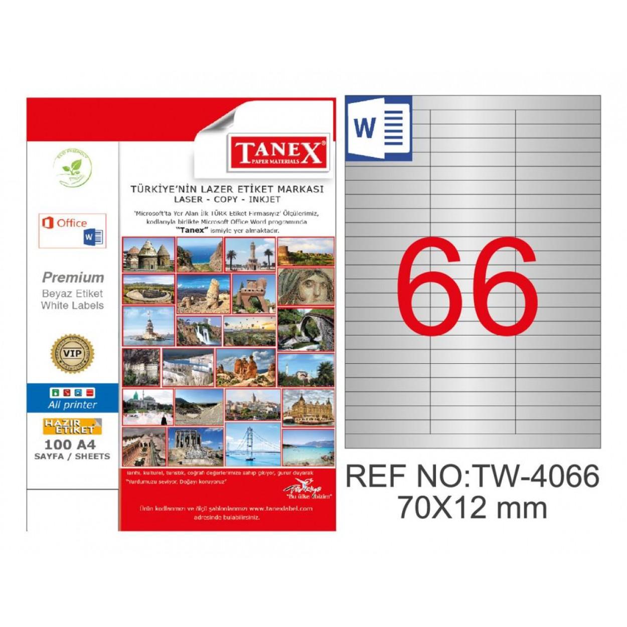 Tanex TW-4066 70x12mm Gümüş Lazer Etiket 1650 Li