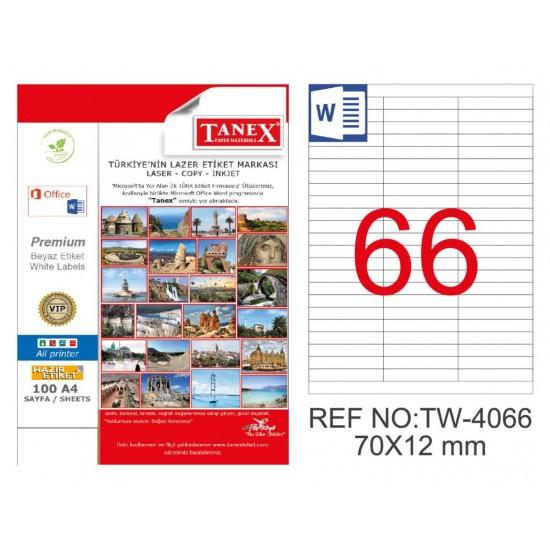 Tanex TW-4066 70x12mm Kuşe Laser Etiket 100 Lü Paket