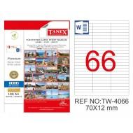 Tanex TW-4066 70x12mm Şeffaf Laser Etiket1650 Li