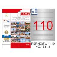 Tanex TW-4110 40x12mm Gümüş Lazer Etiket 2750 Li