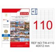 Tanex TW-4110 40x12mm Kuşe Laser Etiket 100 Lü Paket