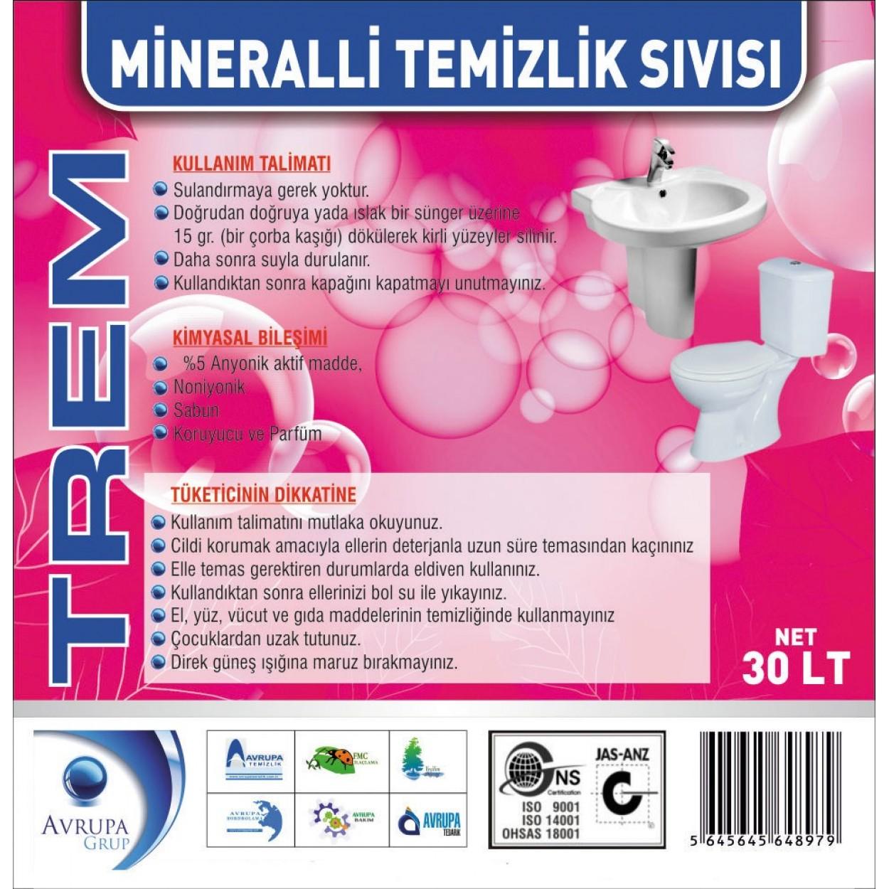 TREM Mineralli Temizlik Sıvısı 30 Litre