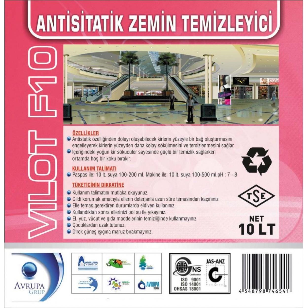 VILOT F10 Anti Statik Zemin Temizleme Ürünü 10 Litre